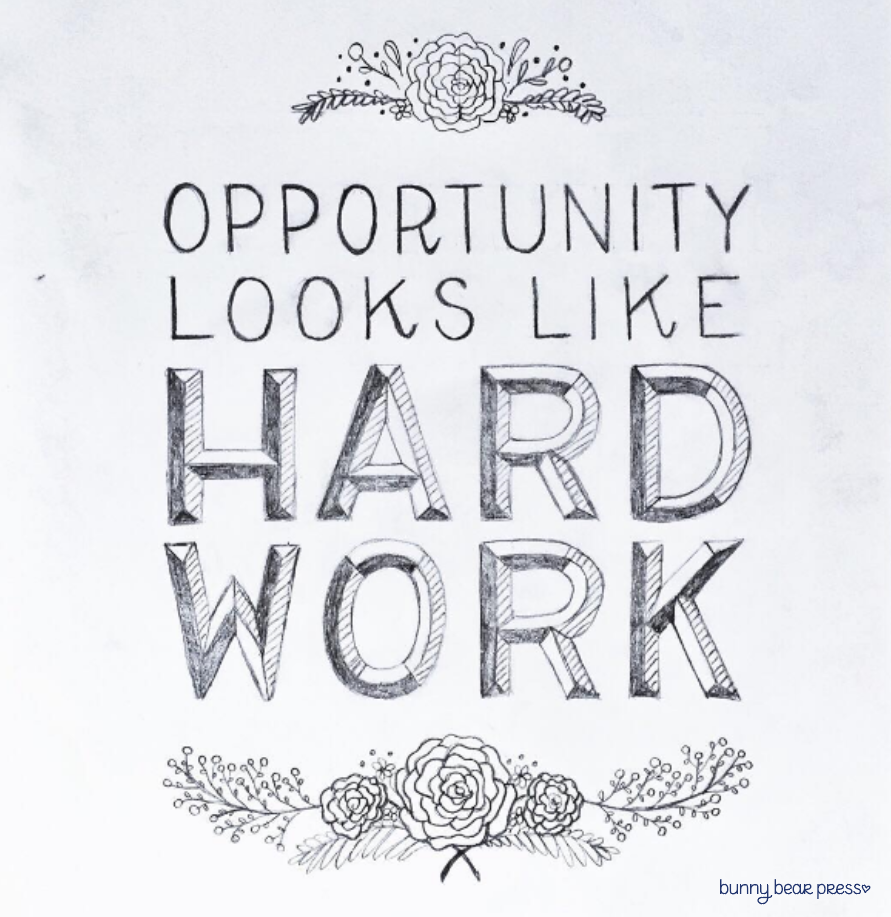 Opportunity Looks Like Hard Work Lettering Image