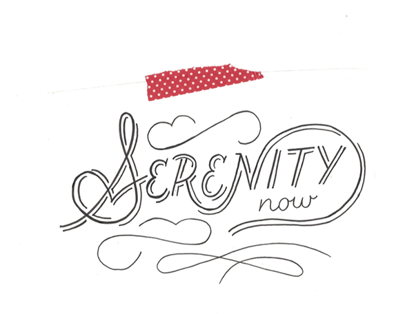 Scanned image of Serenity Now for new May greeting card release
