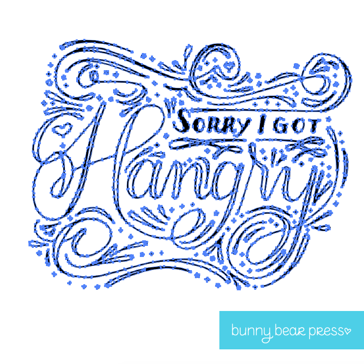 "Converting Hand Lettering to Vector using the Covert to Paths in Illustrator Tool Image for ""Sorry I got Hangry"" Greeting Card by Bunny Bear Press"