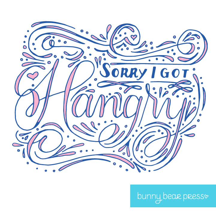 """Sorry I got Hangry"" Greeting Card Vector Artwork in full color by Bunny Bear Press"