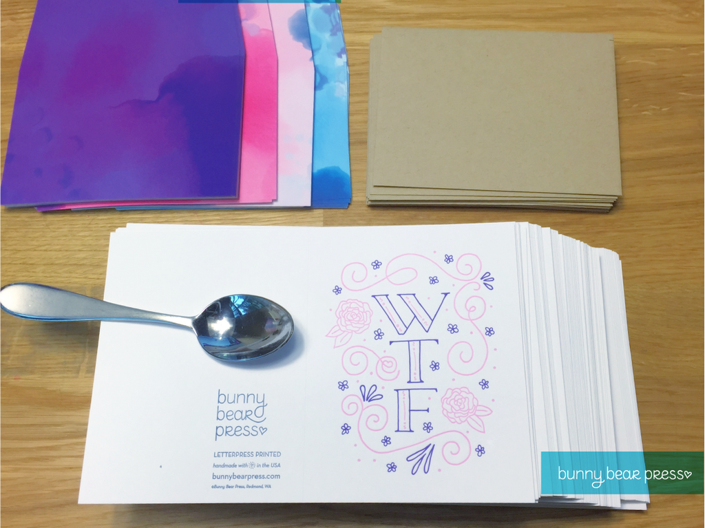 Packaging materials for Bunny Bear Press greeting cards