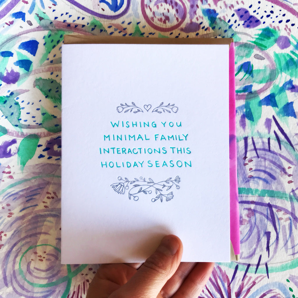 wishing you minimal family interactions this holiday season letterpress greeting card by bunny bear press