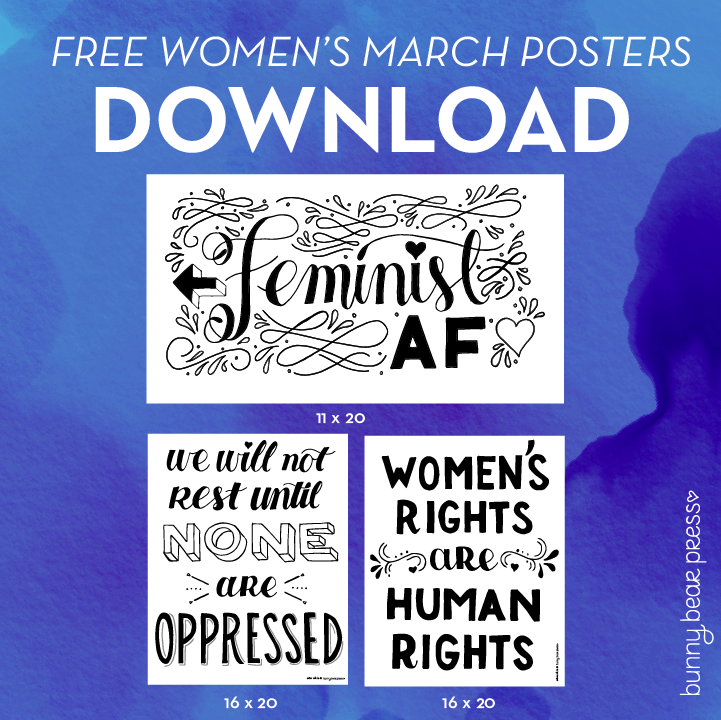 photo relating to Printable Women's March Signs identified as Down load Cost-free Posters for the Womens March - Bunny Endure Force