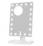LIT LUX VANITY TOUCH DIMMABLE LED MAKEUP MIRROR IN GLOSSY WHITE