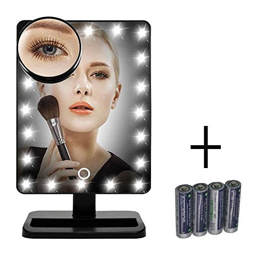 LIT LUX VANITY TOUCH DIMMABLE LED MAKEUP MIRROR IN GLOSSY BLACK