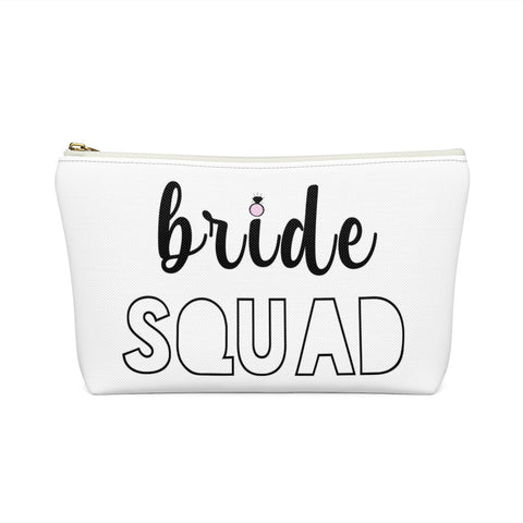 Bride Squad Bachelorette Party Favor Gift Makeup Accessory Pouch w/T-bottom