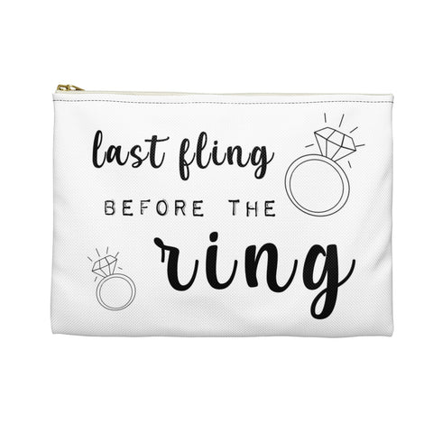 Last Fling Before The Ring Bachelorette Party Favor Makeup Accessory Pouch