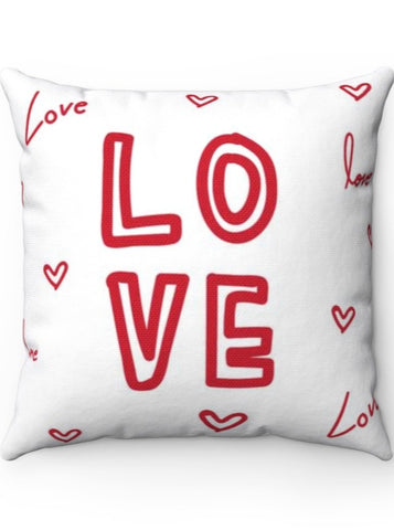 LOVE Valentine's Day Hearts Polyester Square Pillow