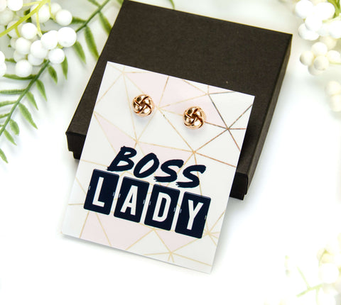 Boss Lady Gold Earring on Card + Box