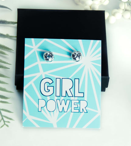 Girl Power Silver Earrings