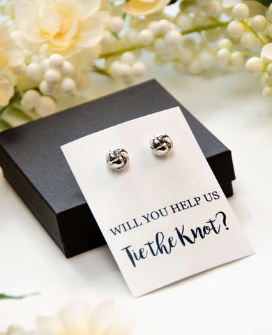 Will You Help Us Tie the Knot? Silver Proposal Knot Earrings