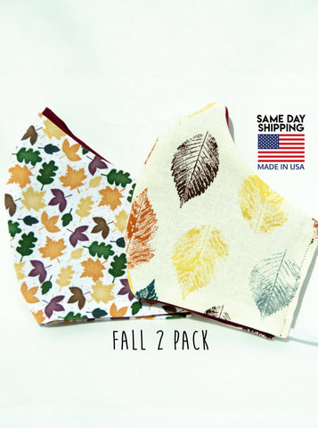 Two Pack Fall Leaf Cotton Washable Adult Face Mask