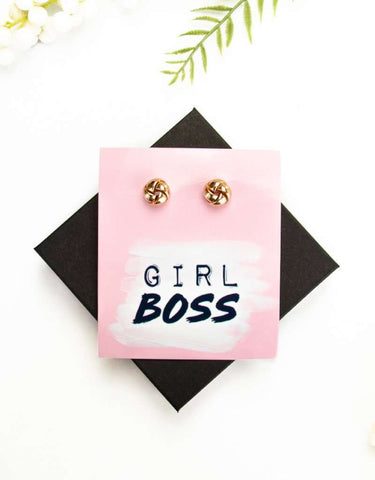 Girl Boss Gold Earrings + Card + Box