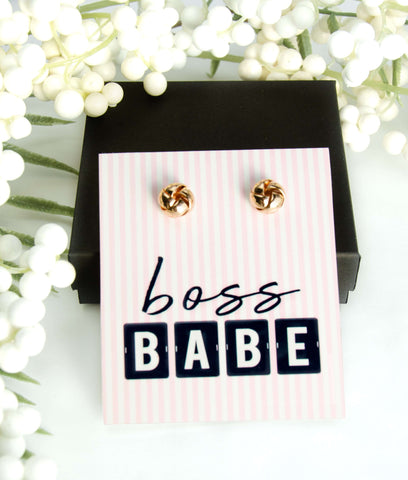 Boss Babe Gold Earrings + Card + Box