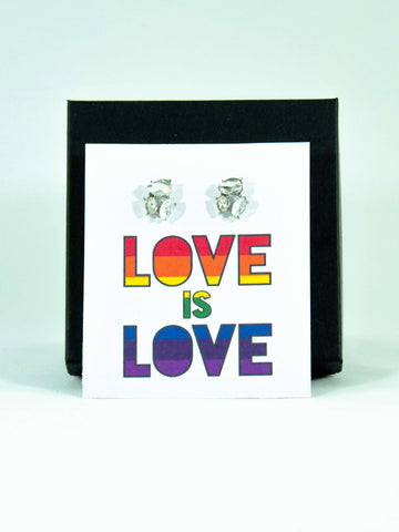 Love is Love LGBTQ+ Rainbow Jewel Stud Earrings Gift