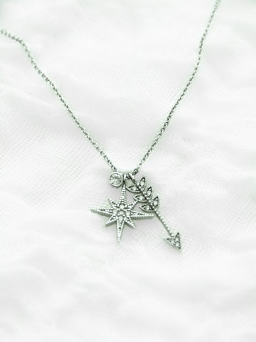 Crossed Path Pave Silver Necklace