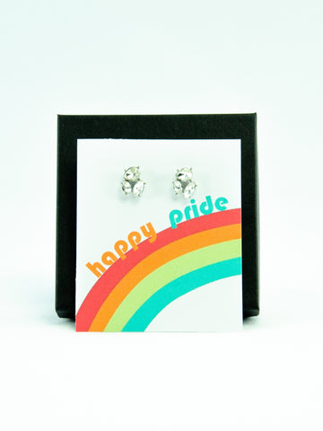 Happy Pride Month LGBTQ+ Rainbow Jewel Stud Earrings Gift
