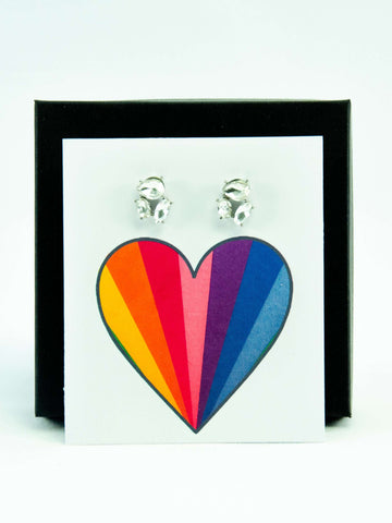 Rainbow Pride LGBTQ+ Rainbow Jewel Stud Earrings Gift