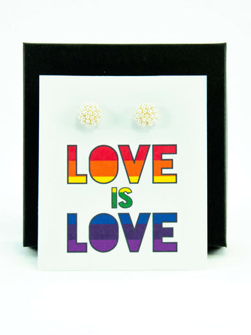Love is Love LGBTQ+ Pride Rainbow Pearl Stud Earrings Gift