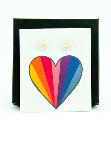 Rainbow Heart Pride LGBTQ+ Pearl Stud Earrings Gift