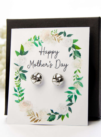 Mother's Day Silver Earrings Spring Greens Card
