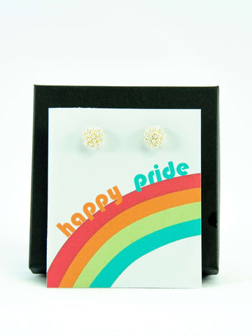 Happy Pride LGBTQ+ Rainbow Pearl Stud Earrings Gift