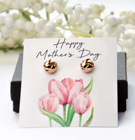 Mother's Day Gold Earrings Pink Tulips Card