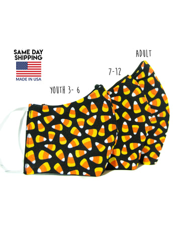Halloween Candy Corn Adult + Youth Face Mask