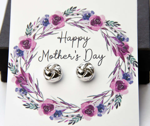 Mother's Day Silver Earrings Purple Floral Card