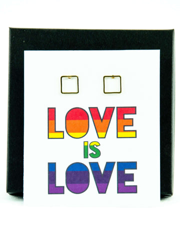 Love is Love LGBTQ+ Rainbow Pride Square Stud Earrings Gift