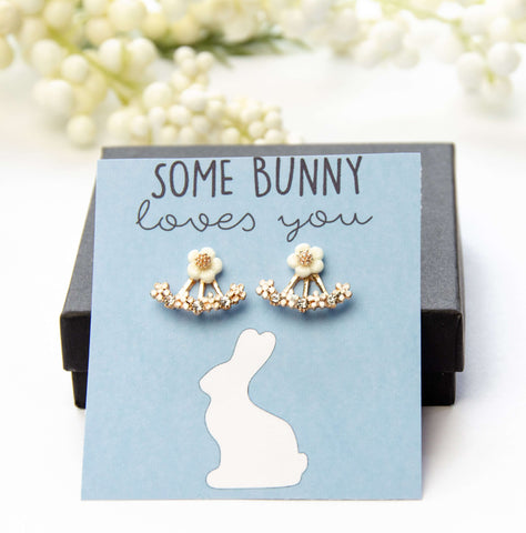 Some Bunny Loves You Floral Two-Piece Earring Gift
