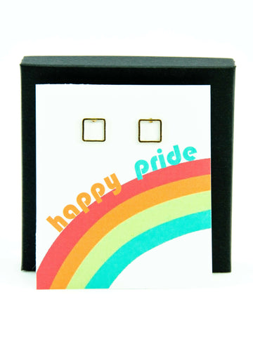 Happy Pride LGBTQ+ Rainbow Square Stud Earrings Gift
