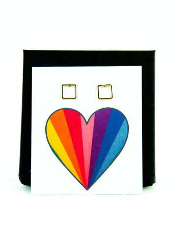 Rainbow Heart LGBTQ+ Rainbow Pride Square Stud Earrings Gift