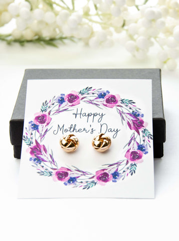 Mother's Day Gold Earrings Purple Floral Card