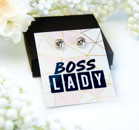 Boss Lady Silver Earrings on Card + Box