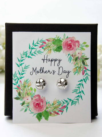 Mother's Day Silver Earrings Floral Spring Card