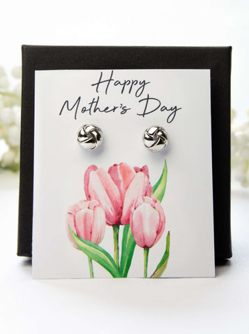 Mother's Day Silver Earrings Pink Tulips Card