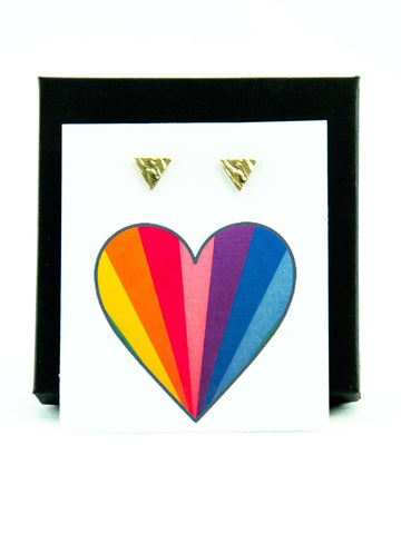 Rainbow Heart LGBTQ+ Pride Triangle Stud Earrings Gift