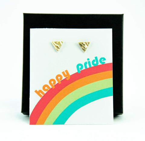 Happy Pride LGBTQ+ Rainbow Triangle Stud Earrings Gift