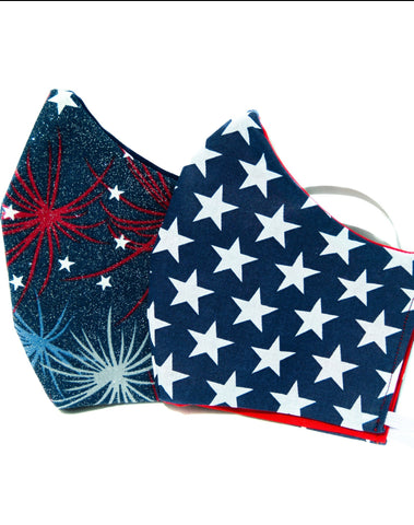 Two Pack Patriotic USA Red White Blue Adult Face Mask