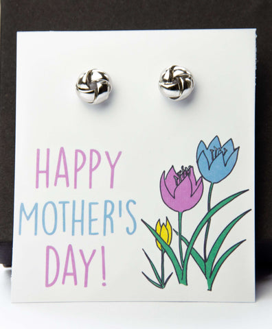 Mother's Day Silver Earrings Tulips Card