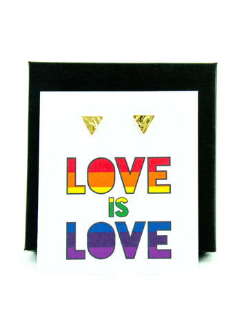Love is Love LGBTQ+ Rainbow Triangle Stud Earrings Gift