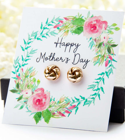 Mother's Day Gold Earrings Floral Spring Card