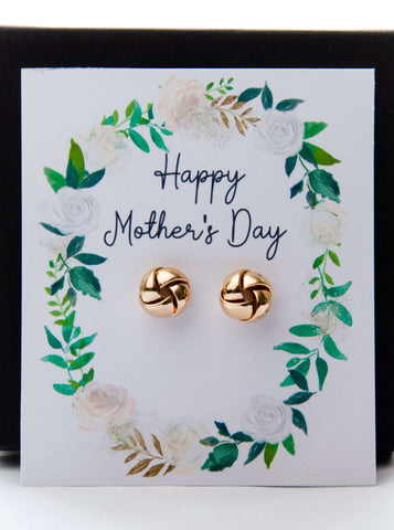 Mother's Day Gold Earrings Spring Greens Card