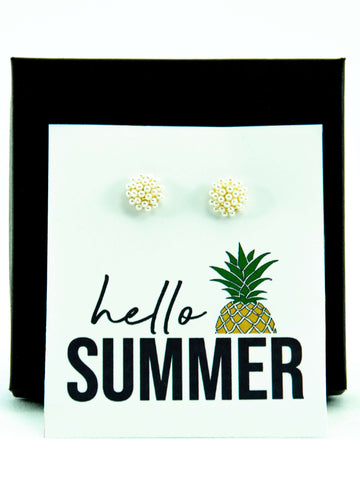 Hello Summer Pearl Stud Earrings