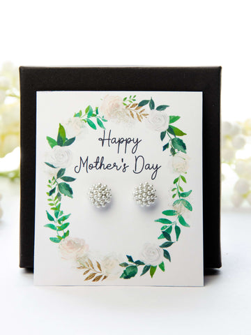 Mother's Day Pearl Earrings Spring Greens Card