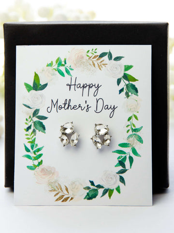 Mother's Day Jewel Earrings Spring Greens Card