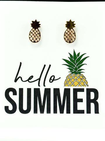 Hello Summer Pineapple Stud Earrings