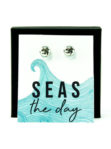 Seas The Day Silver Knot Earrings