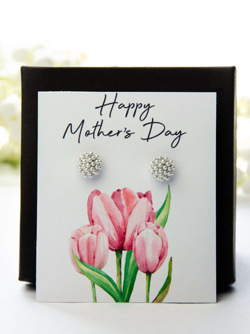 Mother's Day Pearl Earrings Pink Tulips Card